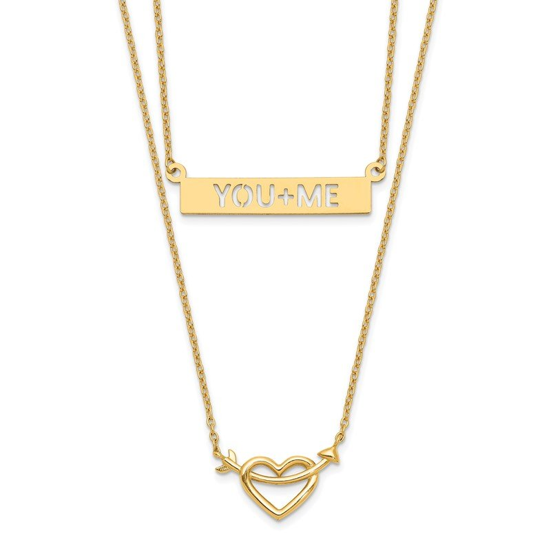 Quality Gold 14k Two-Strand Polished Heart & You+ME Bar Necklace