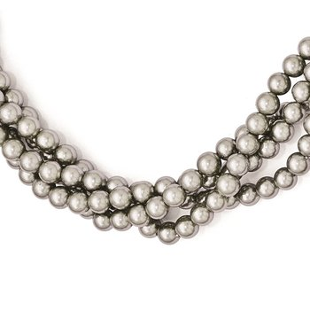 Sterling S Majestik Rh-pl 4Row 4-5mm Grey Imitat Shell Pearl Twist Necklace