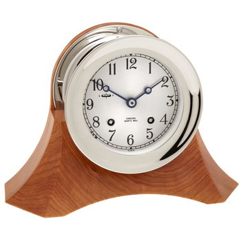 "4 1/2"" Ship's Bell Clock, Nickel, Thos. Moser Cherry Wood Base"