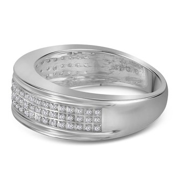 10kt White Gold Mens Round Diamond Triple Row Wedding Anniversary Band Ring 1/4 Cttw