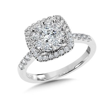 Cushion-Shaped Cluster Diamond Mirage Engagement Ring