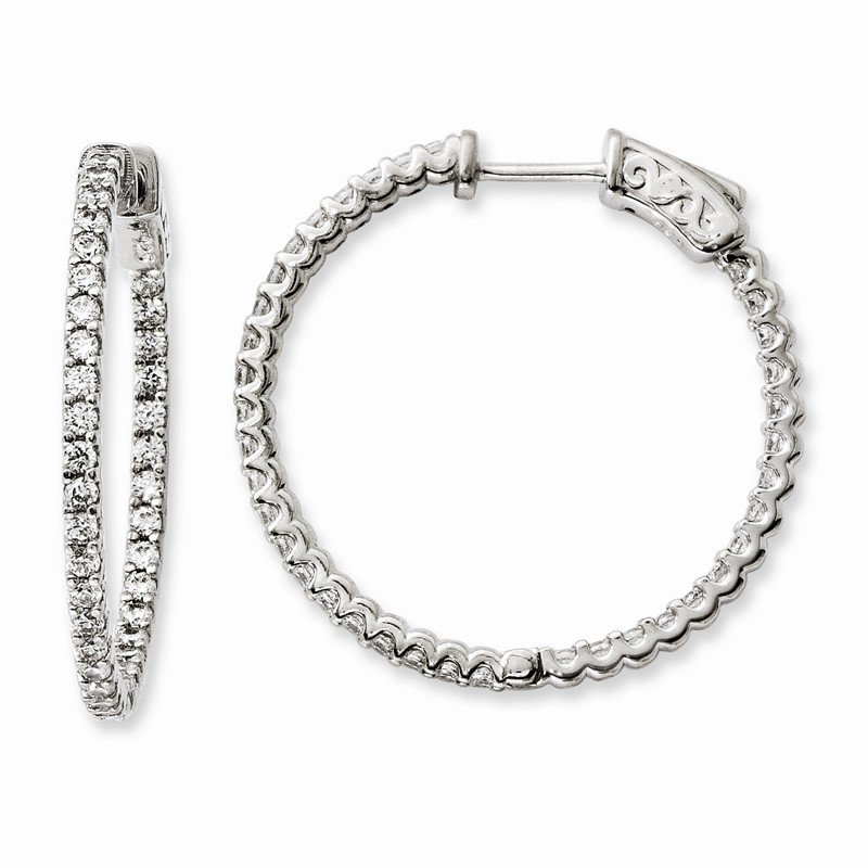 Arizona Diamond Center Collection Sterling Silver Rhodium-plated CZ 74 Stone In and Out Hoop Earrings