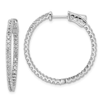 Sterling Silver Rhodium-plated CZ 74 Stone In and Out Hoop Earrings