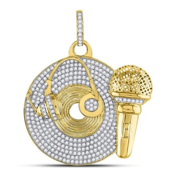 10kt Yellow Gold Mens Round Diamond Recording Artist Mic Record Charm Pendant 3.00 Cttw