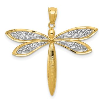 14k with Rhodium Dragonfly Pendant