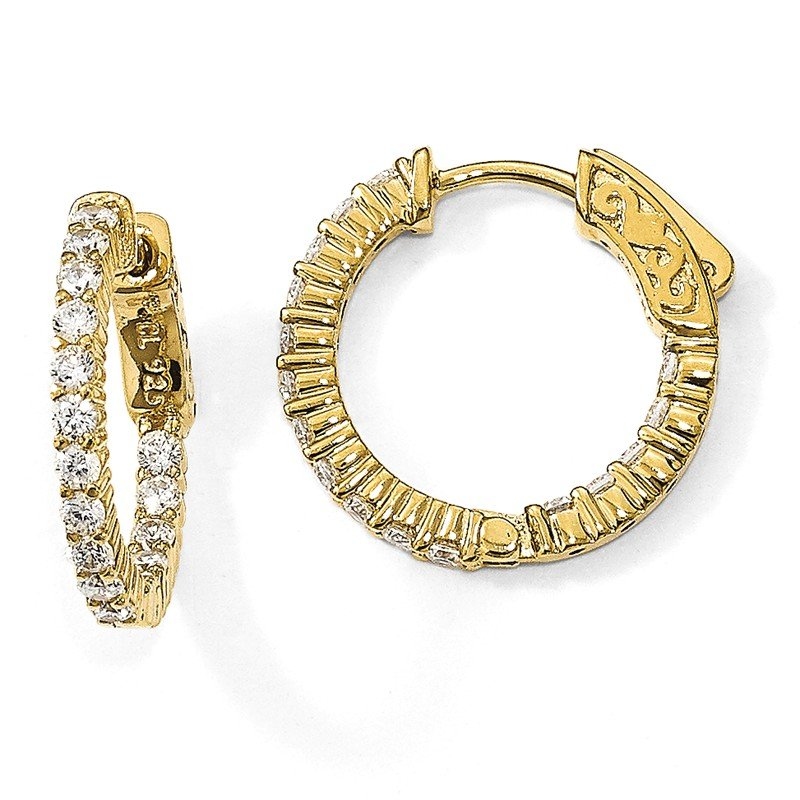 Quality Gold Sterling Silver Yellow-plated CZ In & Out Hoop Earrings