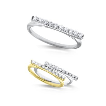 Diamond Bar Stack Ring in 14K White and Yellow Gold with 10 Diamonds Weighing .16 ct tw