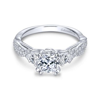 14K White Gold Cushion Cut Three Stone Diamond Engagement Ring
