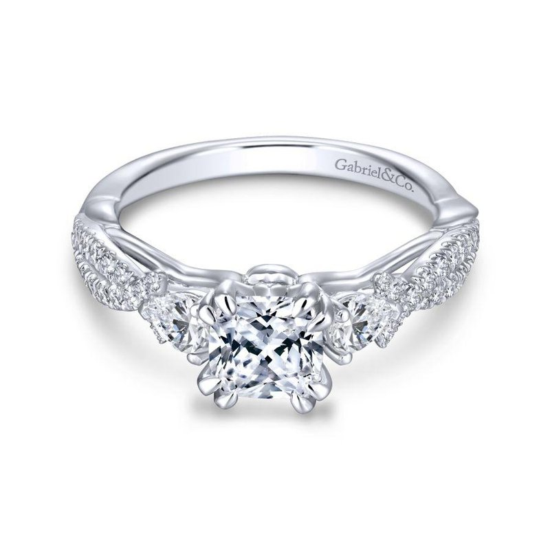 Gabriel Bridal Top Picks 14K White Gold Cushion Cut Three Stone Diamond Engagement Ring