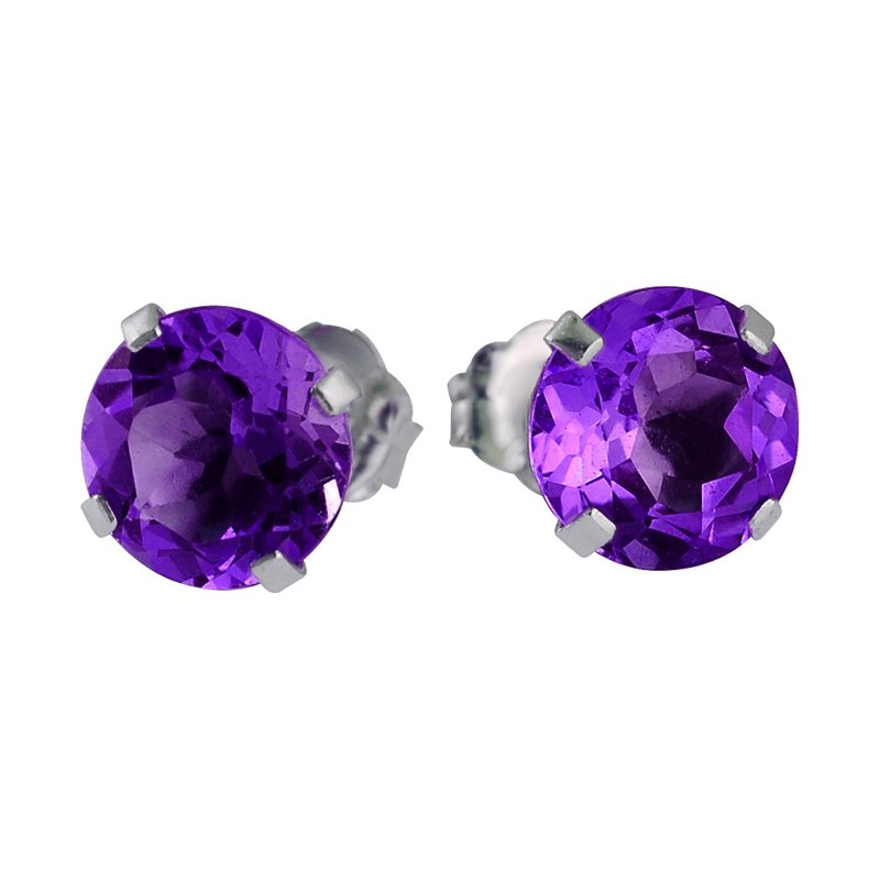 Color Merchants 14k White Gold 6mm Round Amethyst Stud Earrings (1.35 ct)