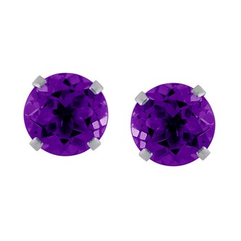 14k White Gold 6mm Round Amethyst Stud Earrings (1.35 ct)