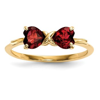 14k Gold Polished Garnet Bow Ring