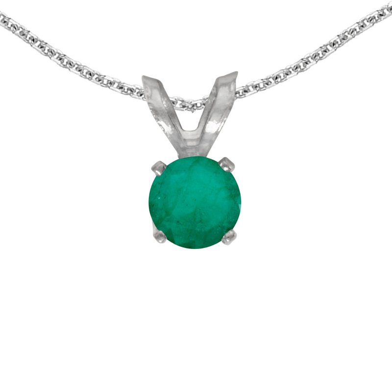 Color Merchants 14k White Gold Round Emerald Pendant