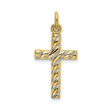 Sterling Silver Gold-plated Polished and Texture Cross Pendant
