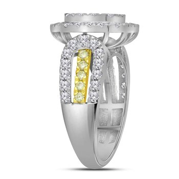 14kt White Gold Womens Round Canary Yellow Diamond Square Cluster Ring 1-3/4 Cttw