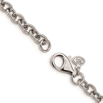 Sterling Silver Rhodium-plated Fancy Swirls Bracelet