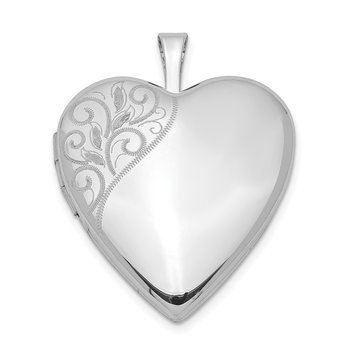 Sterling Silver Rhodium-plated 20mm Polished Swirl Heart Locket