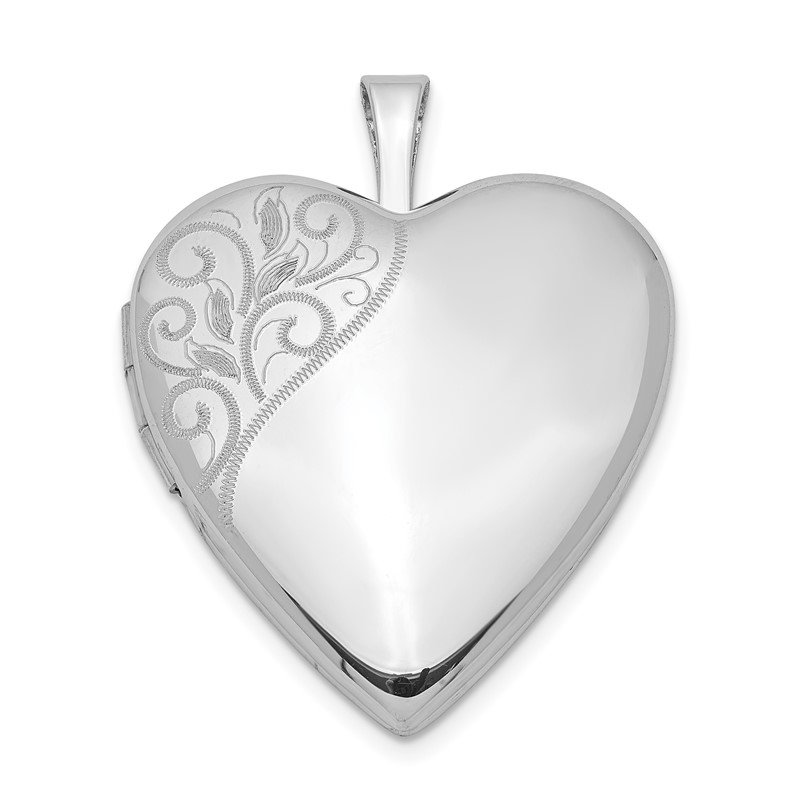 Quality Gold Sterling Silver Rhodium-plated 20mm Polished Swirl Heart Locket