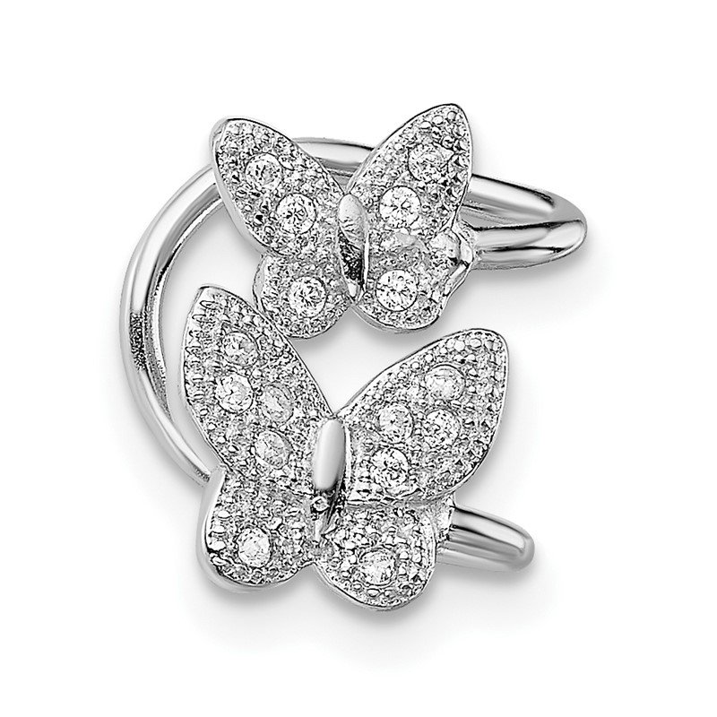 J.F. Kruse Signature Collection Sterling Silver Rhodium-plated CZ Double Butterfly Left Cuff Earring