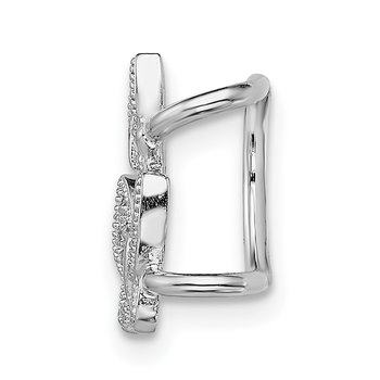 Sterling Silver Rhodium-plated CZ Double Butterfly Left Cuff Earring