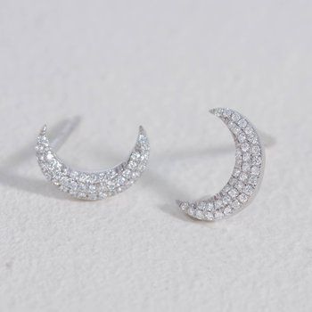 Mini Moons Sterling Silver Earrings