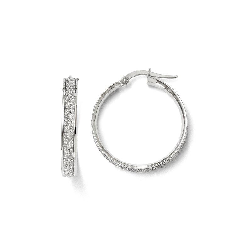 Leslie's Leslie's 14K White Gold Polished Glimmer Infused Hoop Earrings