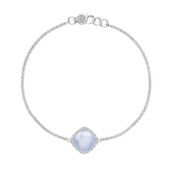 Solitaire Cushion Gem Bracelet with Chalcedony