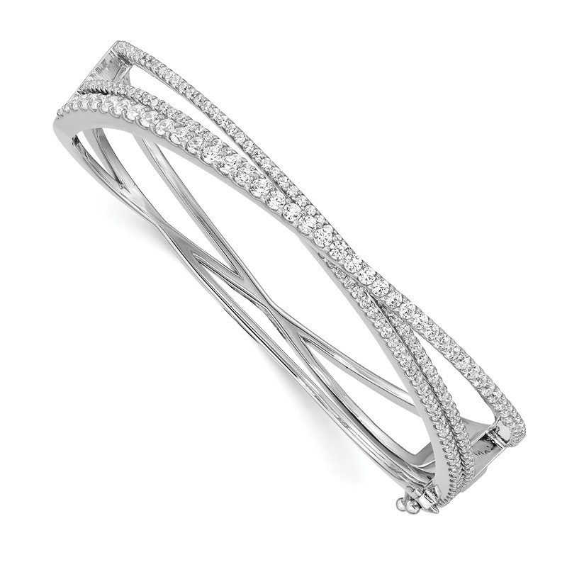 Quality Gold Sterling Silver CZ Criss Cross Hinged Bangle
