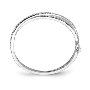 Sterling Silver CZ Criss Cross Hinged Bangle