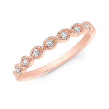 Rose Gold Milgrain Marquise Shaped Stackable Band