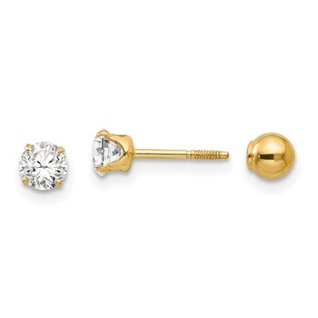 14k Madi K Polished Reversible CZ & 4mm Ball Earrings