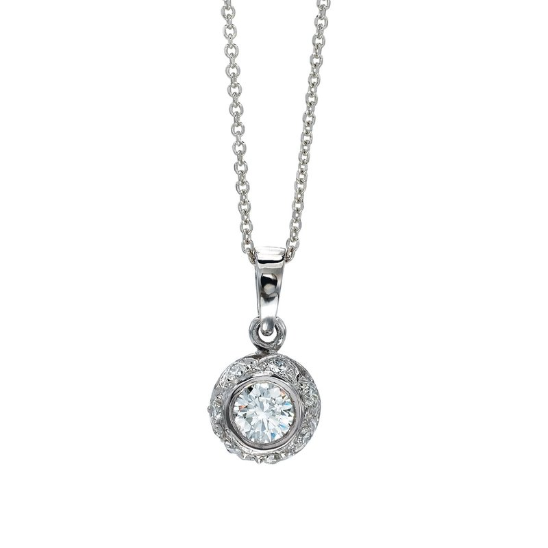 Color Merchants 14K White Gold Diamond Disc Pendant