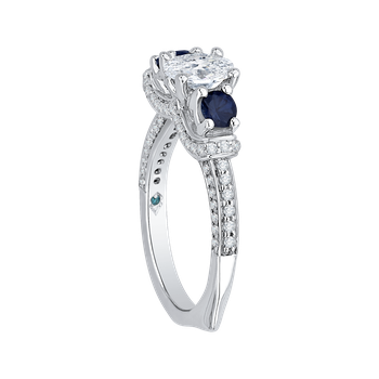 18K White Gold Oval Diamond With Sapphire Three-Stone Engagement Ring (Semi-Mount)