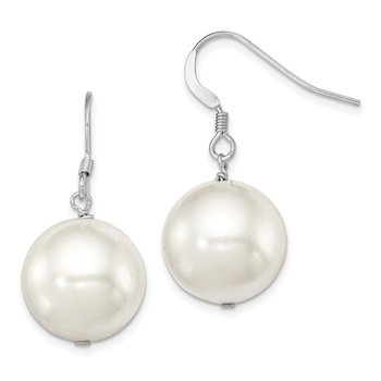 Sterling Silver Rhodium-plated 14-15mm White Shell Pearl Dangle Earrings