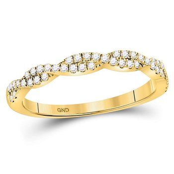10kt Yellow Gold Womens Round Diamond Woven Twist Stackable Band Ring 1/4 Cttw