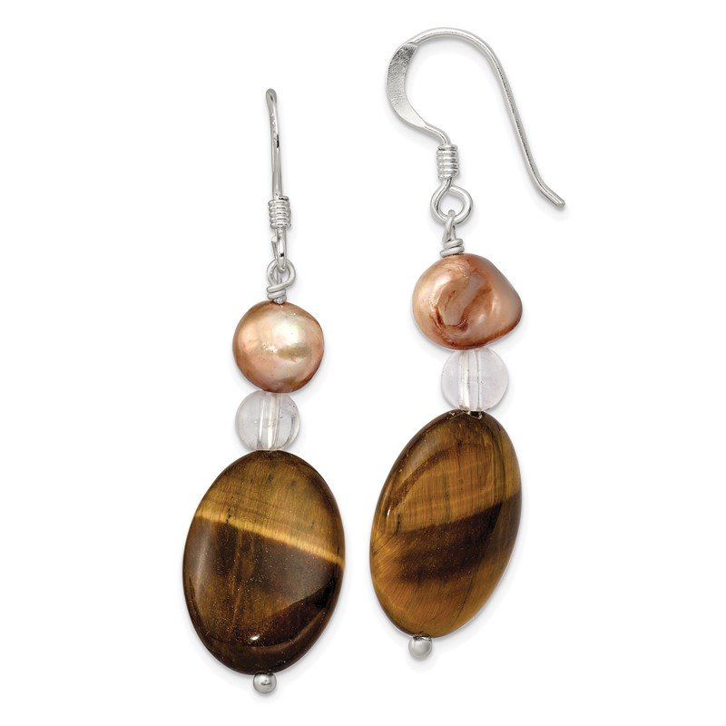 Quality Gold Sterling Silver Rock Quartz/Tigers Eye/ Brown FWC Pearl Earrings