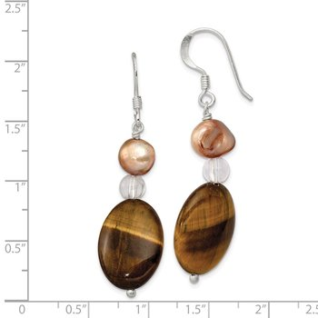 Sterling Silver Rock Quartz/Tigers Eye/ Brown FWC Pearl Earrings