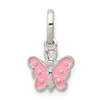 Sterling Silver RH Plated Child's Enameled Butterfly Pendant
