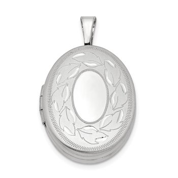 Sterling Silver Rhodium-plated 19mm Polished and Brushed Leaves Oval Locket