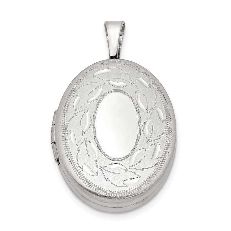 Quality Gold Sterling Silver Rhodium-plated 19mm Polished and Brushed Leaves Oval Locket
