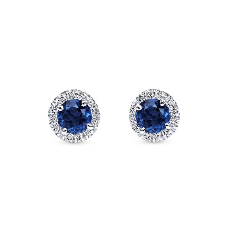 Gabriel Fashion 14k White Gold Round Diamond Halo Sapphire Stud Earrings