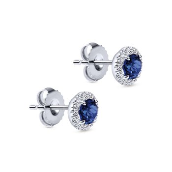 14k White Gold Round Diamond Halo Sapphire Stud Earrings
