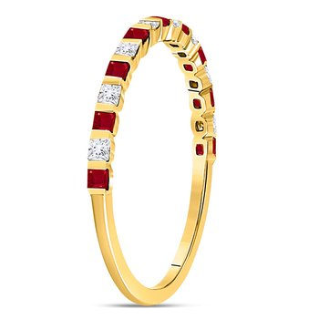 10kt Yellow Gold Womens Princess Ruby Diamond Alternating Stackable Band Ring 3/8 Cttw