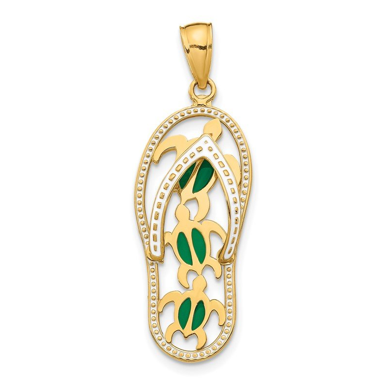 Quality Gold 14K Enamel Cut-out Flip Flop w/ Sea Turtles Pendant