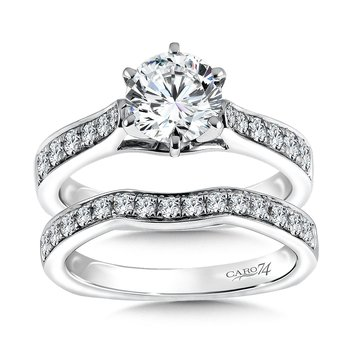 Diamond Engagement Ring With Side Stones in 14K White Gold with Platinum Head (1-1/4ct. tw.)