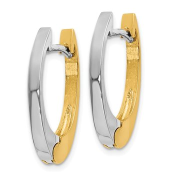 14k Two-tone V Shaped Hinged Hoop Earrings