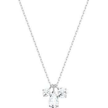 Attract Cluster Pendant, White, Rhodium plated