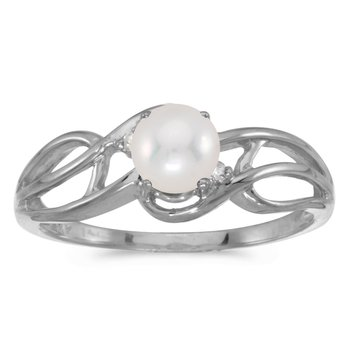 14k White Gold Freshwater Cultured Pearl And Diamond Curve Ring