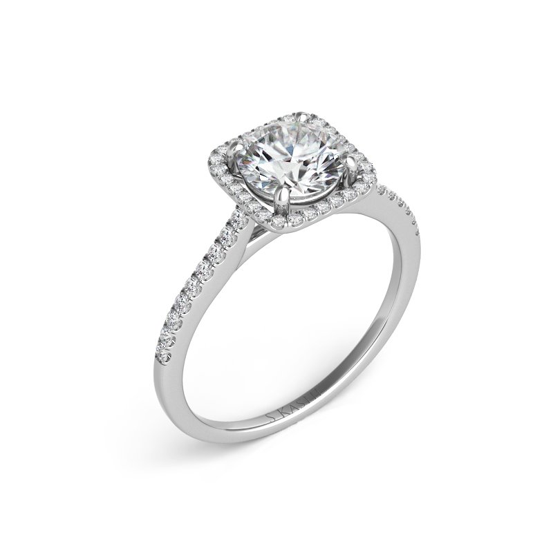 S. Kashi & Sons Bridal Platinum Halo Engagement Ring