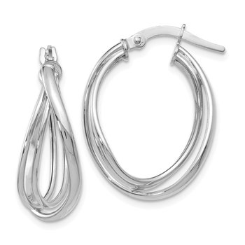 Leslie's 14k White Gold Polished Twist Hoop Earrings
